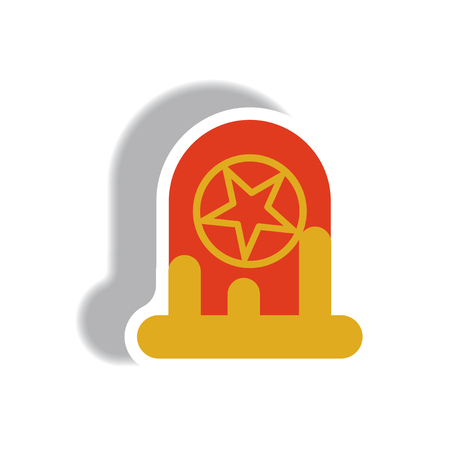 death and dying: Vector illustration paper sticker Halloween icon bloody grave monument with star