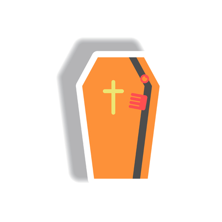 Vector illustration paper sticker Halloween icon coffin with cross