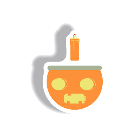 cropped: Vector illustration paper sticker Halloween icon Pumpkin with candel
