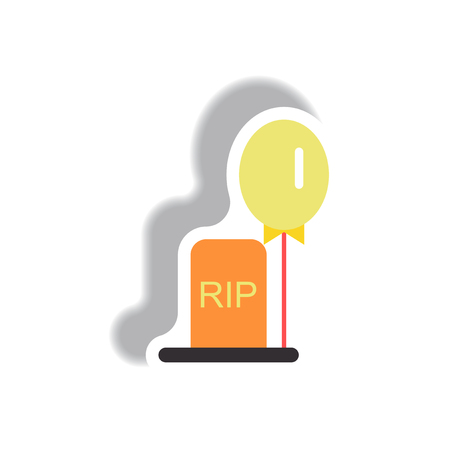 Vector illustration paper sticker Halloween icon grave monument and balloon