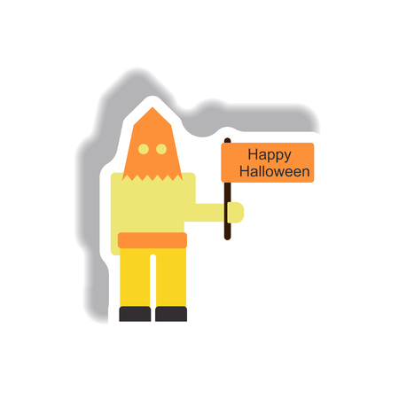 Vector illustration paper sticker Halloween icon Executioner with happy halloween flag