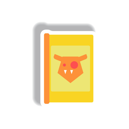 Vector illustration paper sticker Halloween icon scary story book