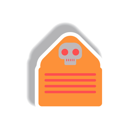 unsolicited: Vector illustration paper sticker Halloween icon Envelope with skull Illustration
