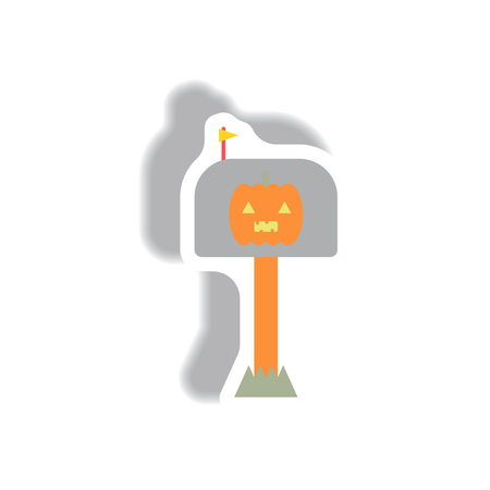 Vector illustration paper sticker Halloween icon pumpkin on mail post box