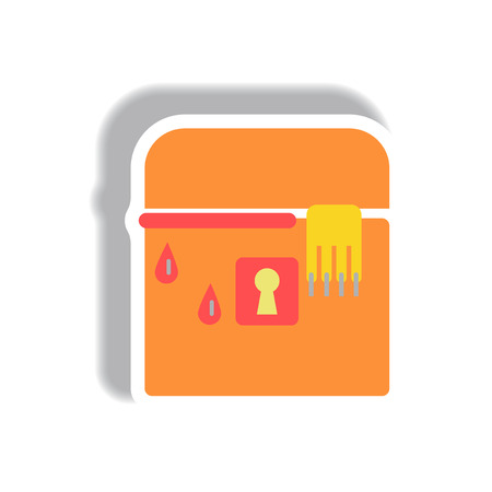 31st: Vector illustration paper sticker Halloween icon box with hand