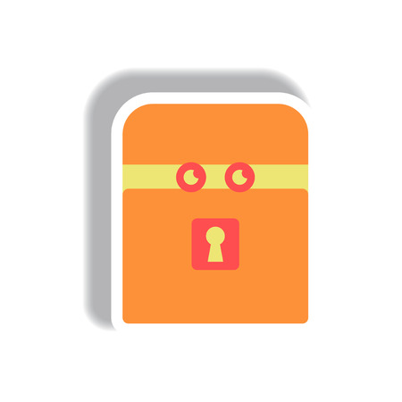 big foot: Vector illustration paper sticker Halloween icon box with eyes