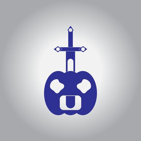 Vector illustration in flat design Halloween icon pumpkin and sword