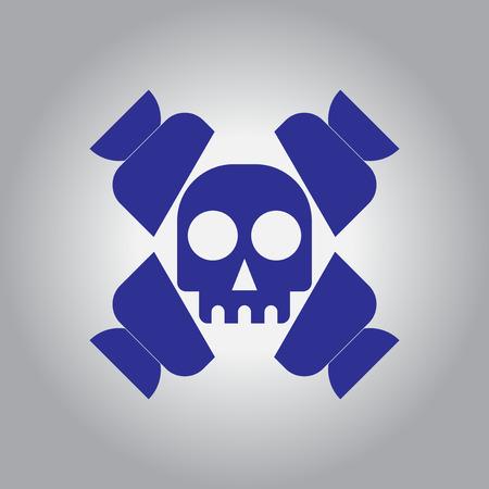 taffy: Vector illustration in flat design Halloween icon candy and skull Illustration