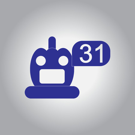 31st: Vector illustration in flat design Halloween icon pumpkin and number