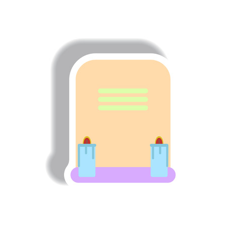 Vector illustration paper sticker Halloween icon grave monument with candles
