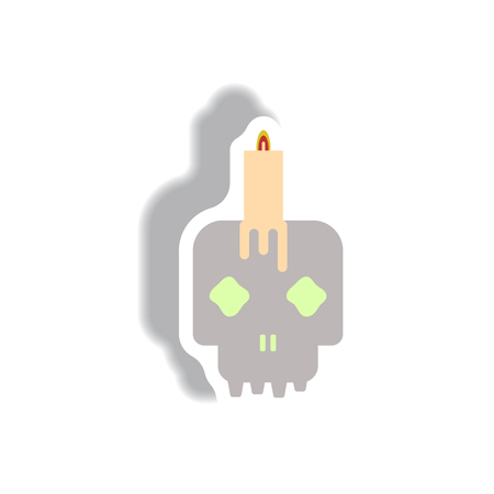 Vector illustration paper sticker Halloween icon Skull and candle Illustration