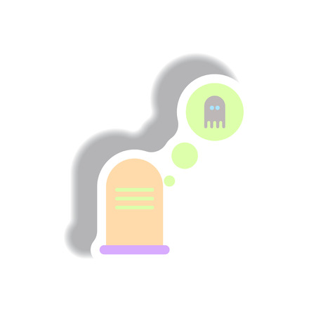 Vector illustration paper sticker Halloween icon grave monument and ghost
