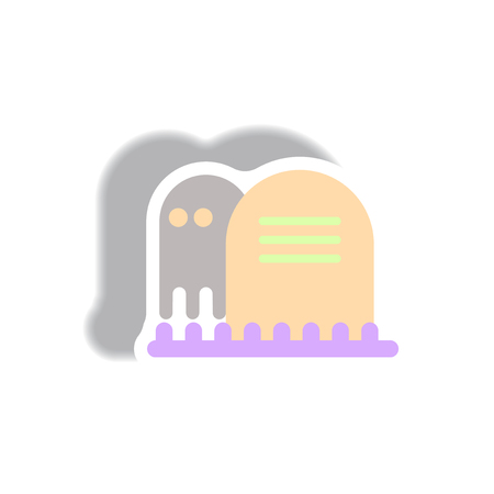 decomposition: Vector illustration paper sticker Halloween icon grave monument and ghost