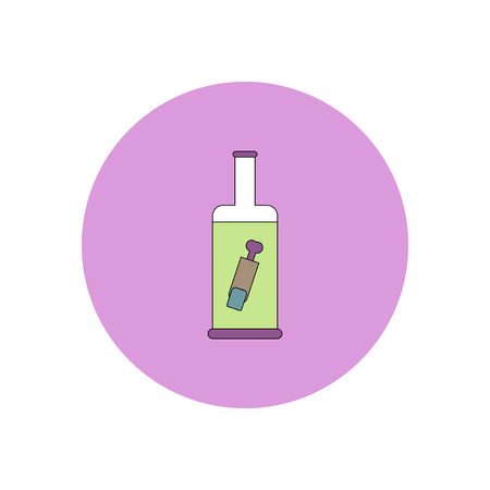 Vector illustration in flat design Halloween icon bottle with finger