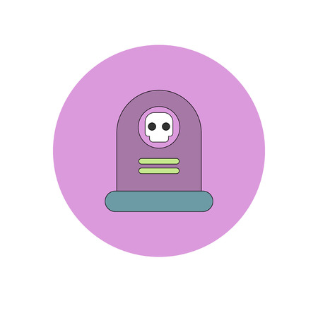 dying: Vector illustration in flat design Halloween icon grave monument