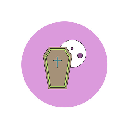 Vector illustration in flat design Halloween icon coffin and moon