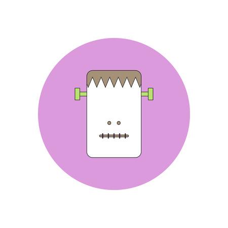 Vector illustration in flat design Halloween icon Frankenstein monster
