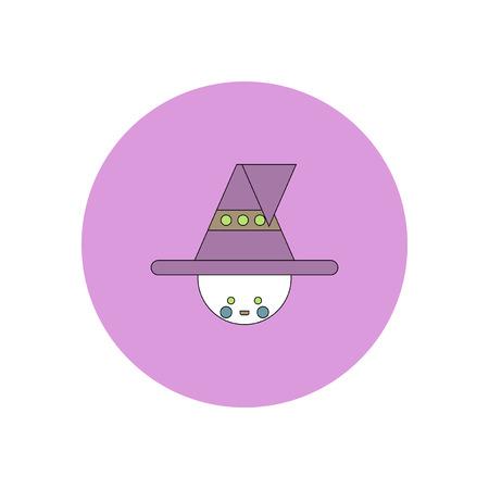 Vector illustration in flat design Halloween icon kid wearing hat