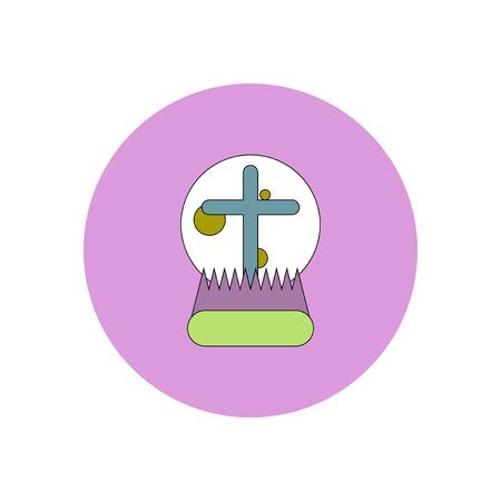 Vector illustration in flat design Halloween icon moon and cross