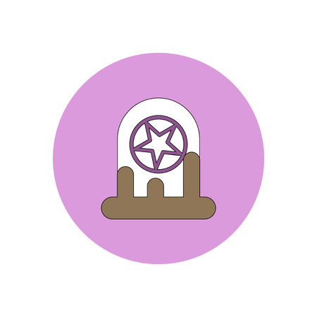 Vector illustration in flat design Halloween icon bloody grave monument with star