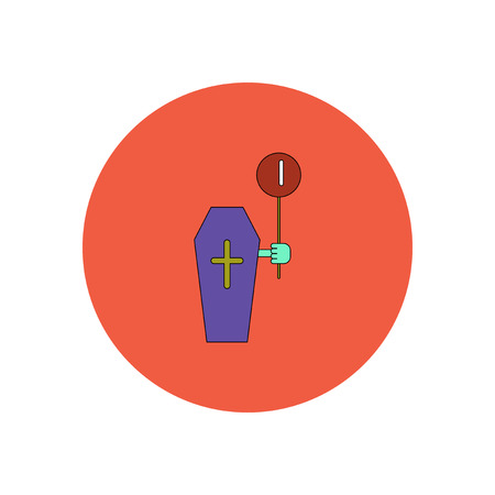 Vector illustration in flat design Halloween icon coffin and balloon