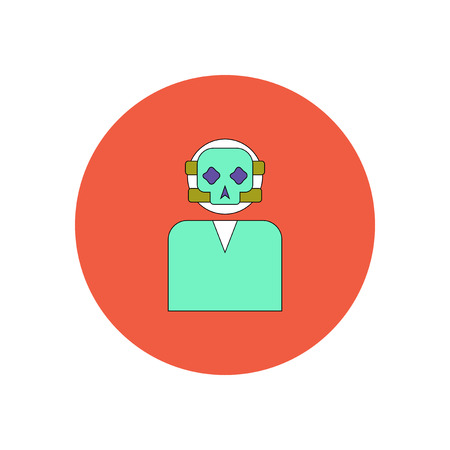Vector illustration in flat design Halloween icon Face mask skull Illustration