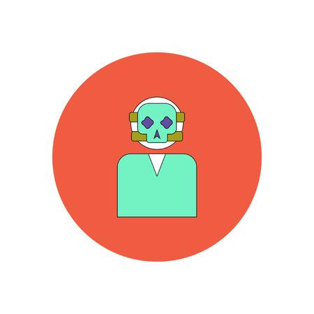 battle evil: Vector illustration in flat design Halloween icon Face mask skull Illustration