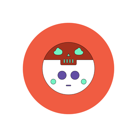 Vector illustration in flat design Halloween icon ghost and moon Illustration