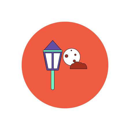 Vector illustration in flat design Halloween icon Street Light and moon