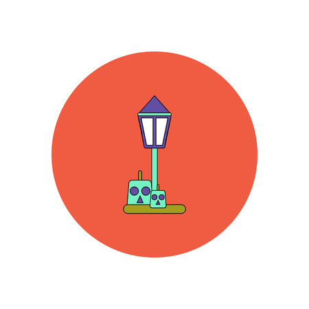 31st: Vector illustration in flat design Halloween icon pumpkin and lamp