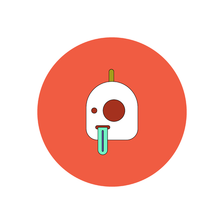 Vector illustration in flat design Halloween icon pumpkin and tongue