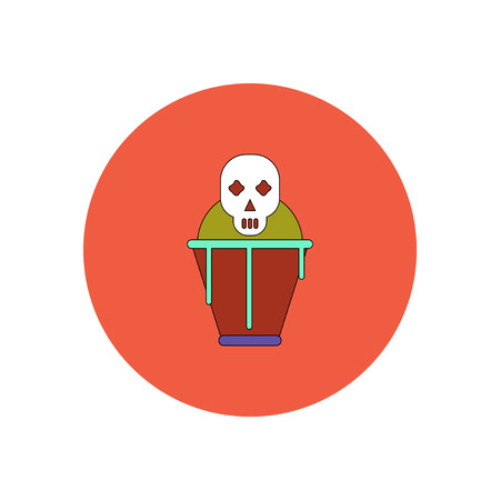 Vector illustration in flat design Halloween icon coffin and skull Illustration
