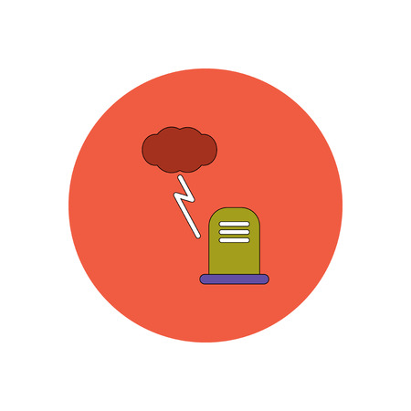 dying: Vector illustration in flat design Halloween icon grave monument and lightning cloud