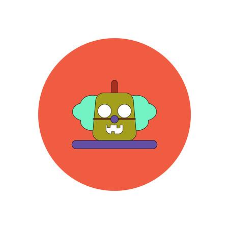 Vector illustration in flat design Halloween icon clown pumpkin