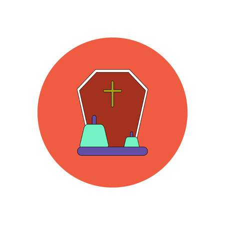 Vector illustration in flat design Halloween icon grave monument and pumpkins Illustration