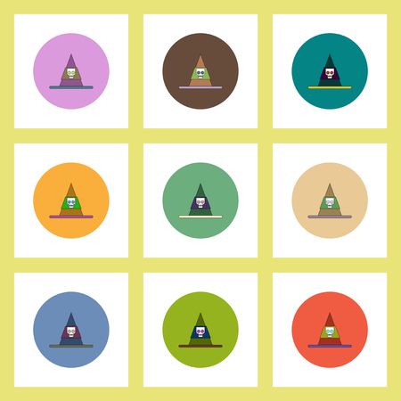 flat icons Halloween set of Mountain and skull concept on colorful circles