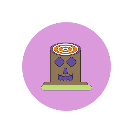 shocking face: Vector illustration in flat design Halloween icon Spooky tree trunk stump