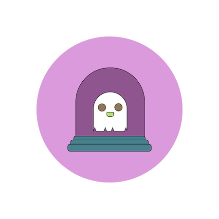 Vector illustration in flat design Halloween icon grave monument and ghost