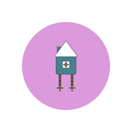 Vector illustration in flat design Halloween icon fairy hut toy
