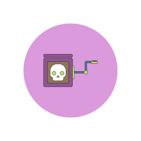 Vector illustration in flat design Halloween icon skull in toy box