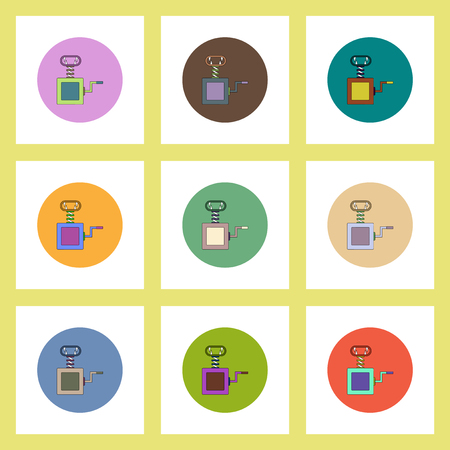 chap: flat icons Halloween set of Vampire Fangs toy concept on colorful circles