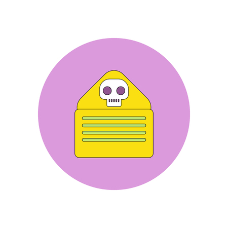 unsolicited: Vector illustration in flat design Halloween icon Envelope with skull