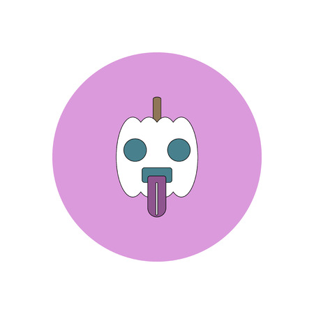 31st: Vector illustration in flat design Halloween icon pumpkin showing tongue