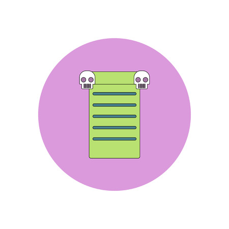 ghost house: Vector illustration in flat design Halloween icon blank and skull