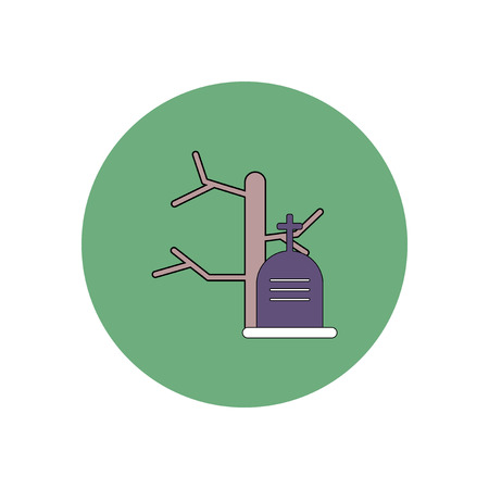 Vector illustration in flat design Halloween icon grave monument with cross