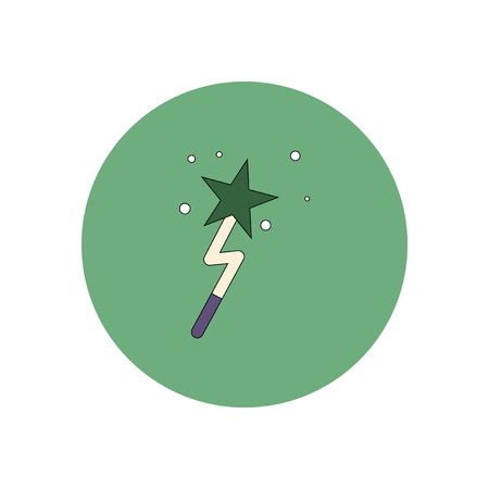 magus: Vector illustration in flat design Halloween icon Magic wand