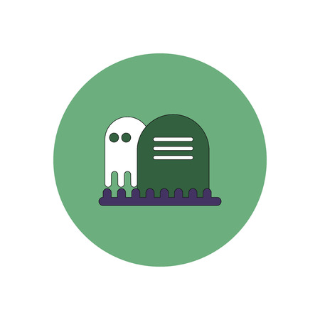 dying: Vector illustration in flat design Halloween icon grave monument and ghost