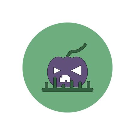 Vector illustration in flat design Halloween icon pumpkin