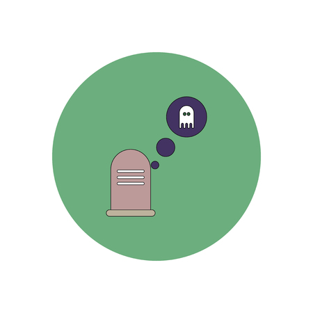 decomposition: Vector illustration in flat design Halloween icon grave monument and ghost