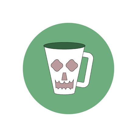 Vector illustration in flat design Halloween icon cup with face Illustration